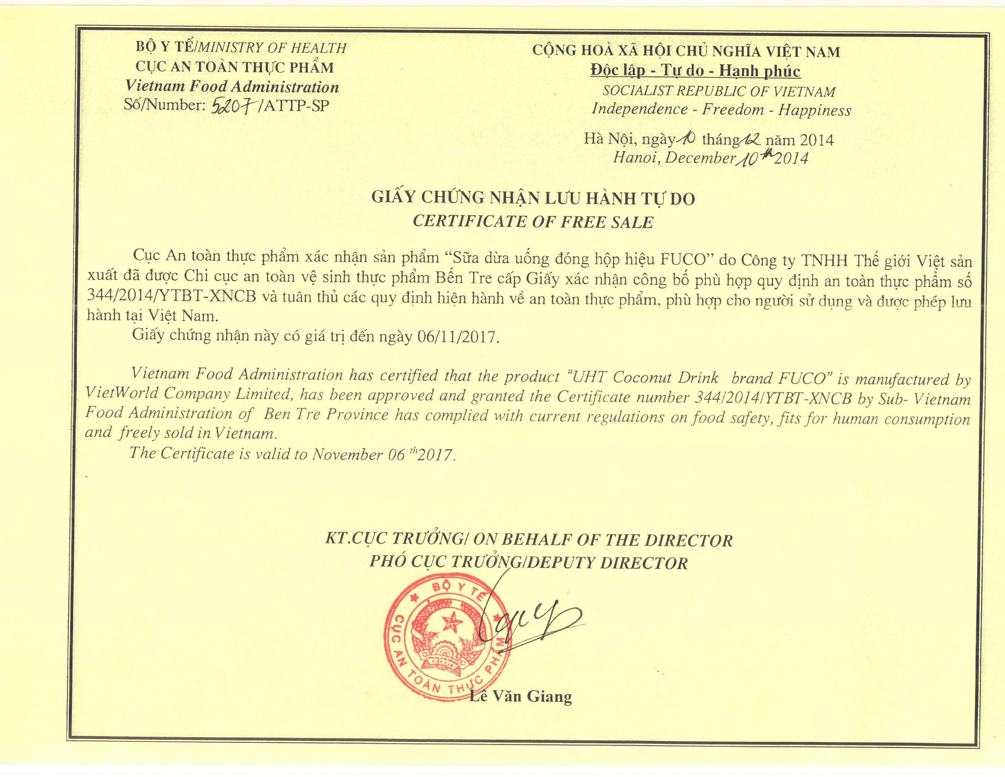 Những điều cần biết về giấy phép lưu hành tự do sản phẩm ( ảnh C.A.O)