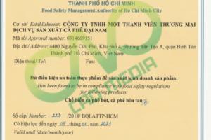 Mẫu giấy chứng nhận an toàn thực phẩm cho cơ sở sản xuất cà phê 2018