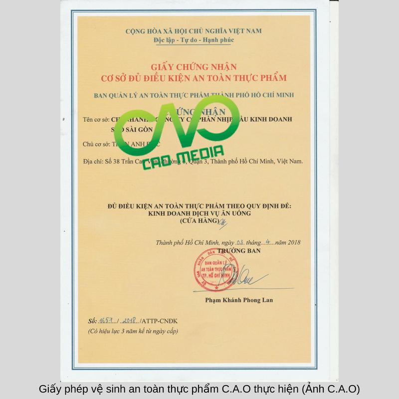 Giấy phép vệ sinh an toàn thực phẩm C.A.O thực hiện (Ảnh C.A.O) (4)