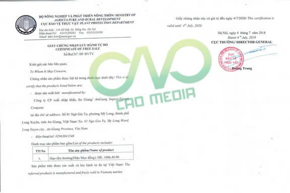 Mẫu giấy phép lưu hành tự do xuất khẩu gạo C.A.O thực hiện