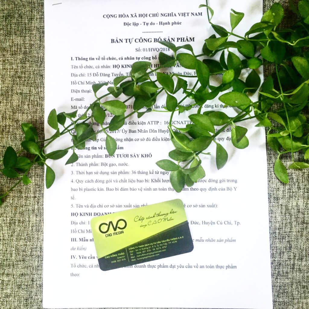 Mẫu tự Công bố tiêu chuẩn chất lượng sản phẩm do C.A.O thực hiện