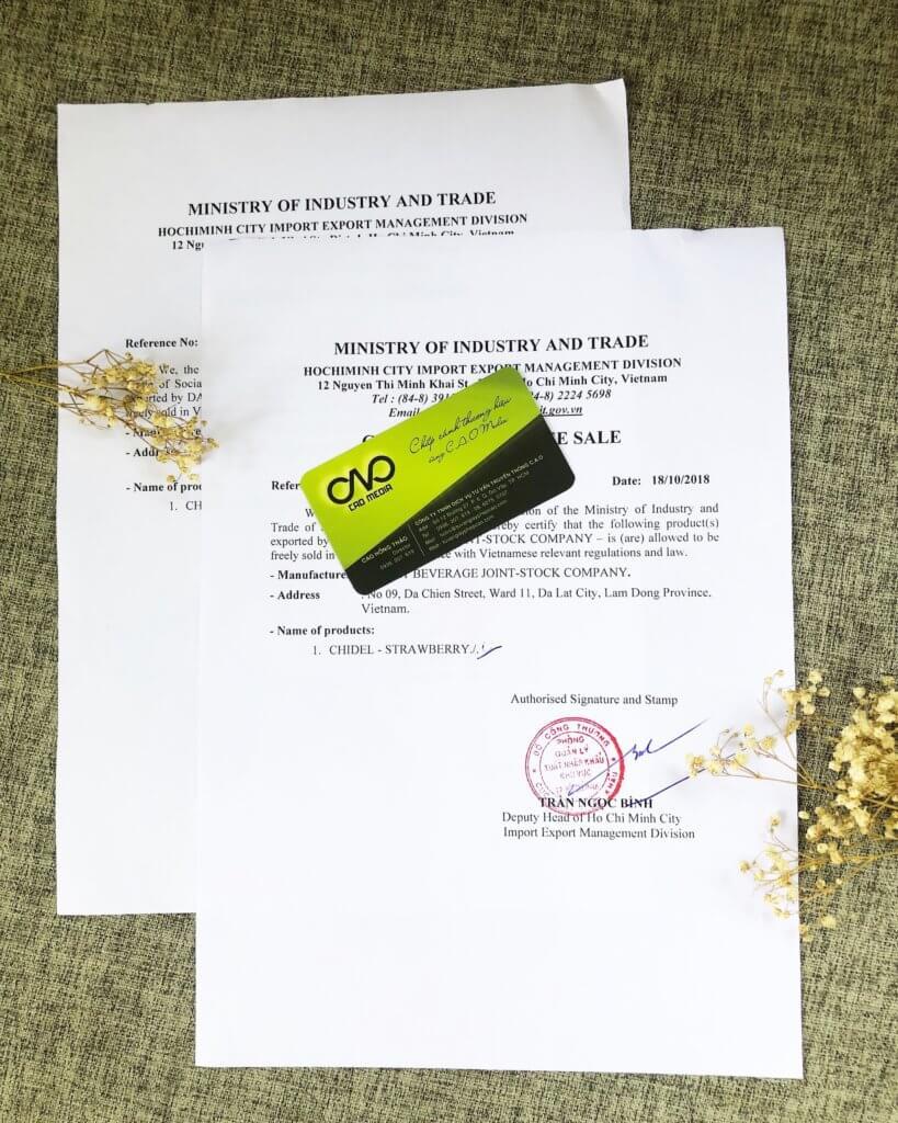 Mẫu giấy chứng nhận lưu hành tự do tại Việt Nam do C.A.O thực hiện