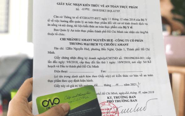 Mẫu giấy xác nhận tập huấn kiến thức an toàn thực phẩm C.A.O thực hiện mới nhất 2018