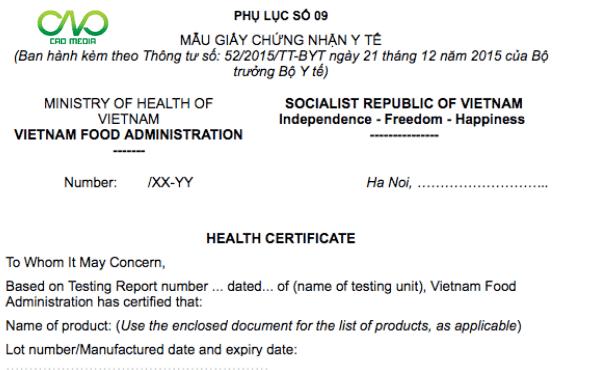 Thủ tục xin cấp giấy chứng nhận y tế (Health Certificate - HC)