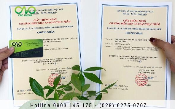 Xin giấy chứng nhận an toàn thực phẩm cho quán ăn quận gò vấp