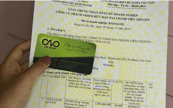 Mẫu giấy phép đăng ký kinh doanh tại C.A.O Media