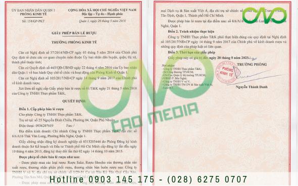 Dịch vụ xin giấy phép bán lẻ rượu trong nhà hàng tại TP.HCM