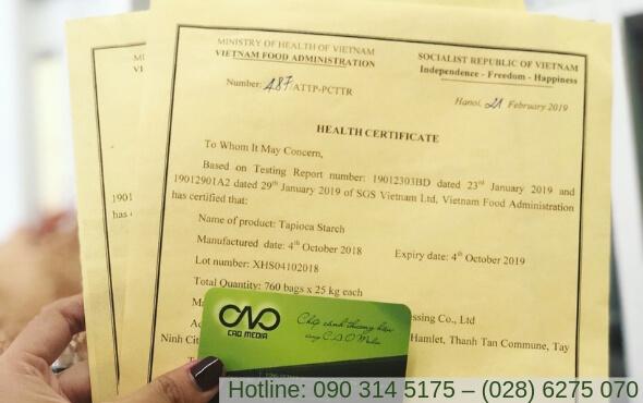 Mẫu giấy chứng nhận health certificate từ Việt nam