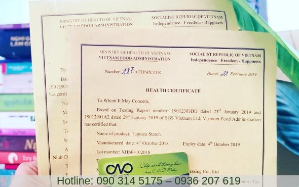 Xem mẫu health certificate do Bộ Y Tế cấp