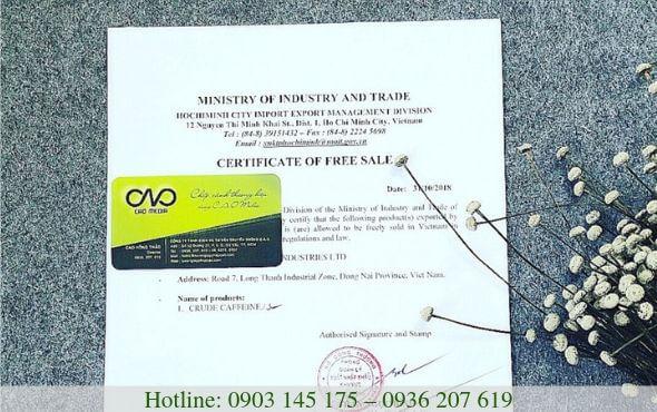 Cấp giấy chứng nhận lưu hành tự do (cfs) đối với sản phẩm thực phẩm xuất khẩu