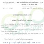 Mẫu giấy phép phân phối rượu bộ công thương cấp