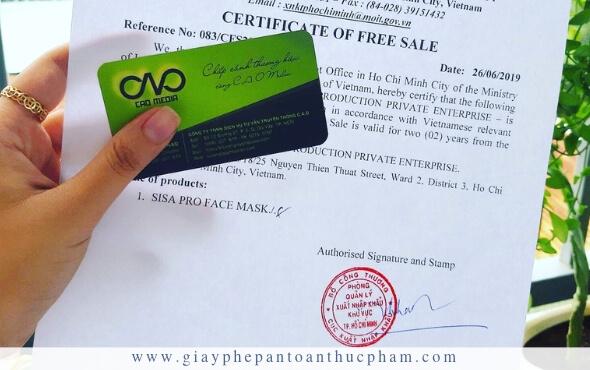 Dịch vụ làm giấy certificate of free sale cho doanh nghiệp xuất khẩu