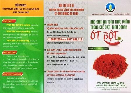 Bảo đảm an toàn thực phẩm trong chế biến kinh doanh ớt bột