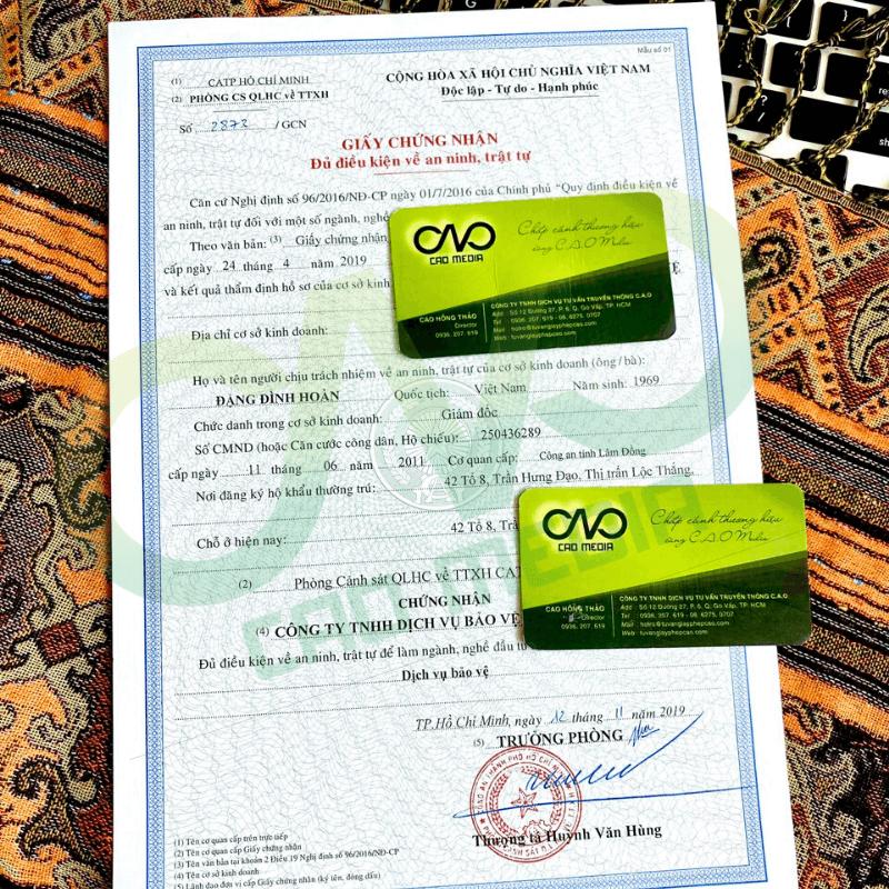 Mẫu giấy chứng nhận đủ điều kiện an ninh trật tự dịch vụ bảo vệ