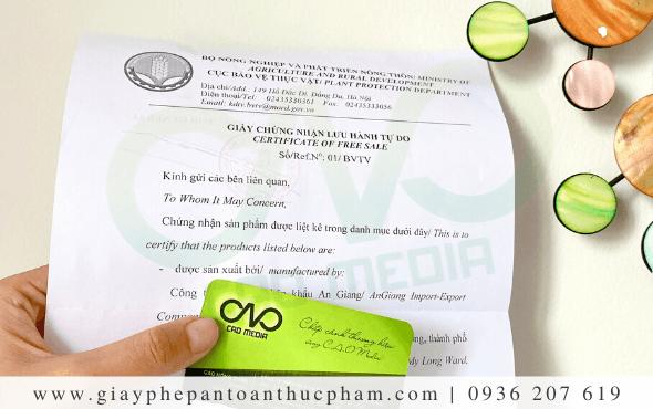 Dịch vụ làmgiấy certificate of free sale tại Hà Nội