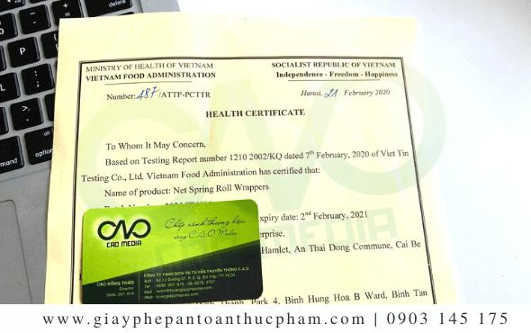 Dịch vụ làm giấy chứng nhận health certificate gia vị