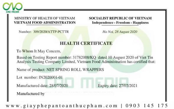Giấy chứng nhậnHealth Certificatesản phẩm bánh tráng