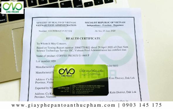 Mẫu giấy chứng nhậnHealth Certificate