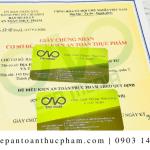 Xin giấy chứng nhận an toàn thực phẩm cho bột yến mạch