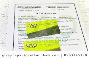 Dịch vụ làm giấy chứng nhận health certificate bột bắp nhanh nhất