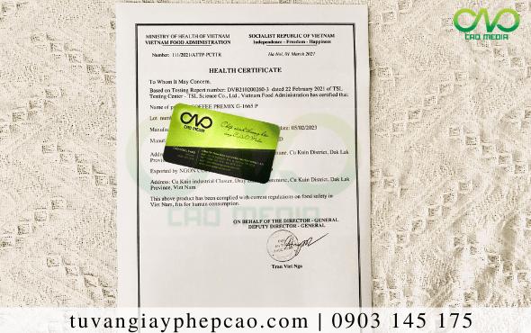 Giấy chứng nhận y tế sản phẩm nha đam sấy dẻo(Health Certificate)