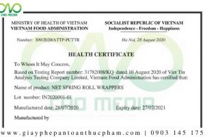 Dịch vụ xin giấy chứng nhận Health Certificate sản phẩm bánh tráng