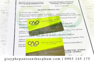 Quy trình xin health certificate cho bột năng